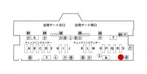成田空港にあるJALABCのカウンター地図